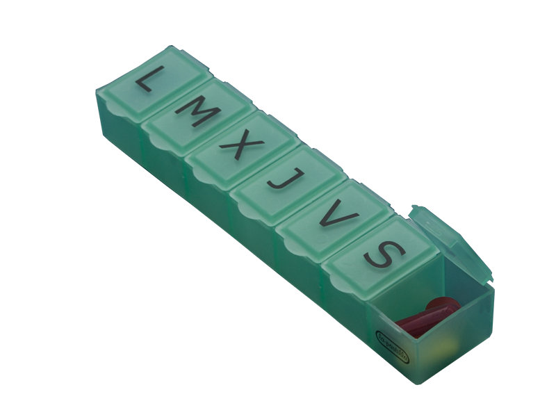 Organizer with one compartment for each day of the week. Large lettering is helpful to distinguish days. Color: Green