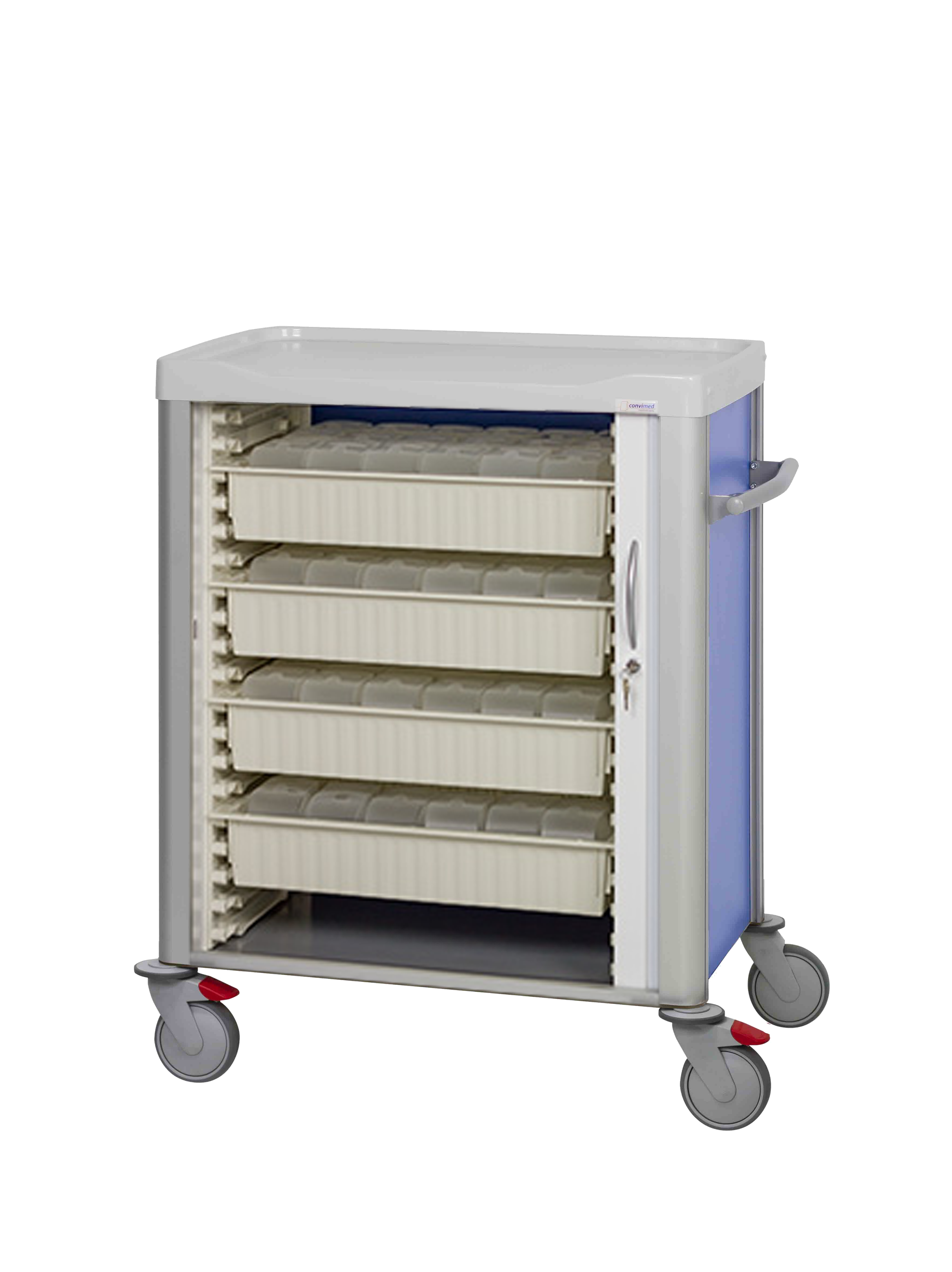Trolley with open shutter and door lock, with 4 cream colored trays with transparent robot boxes inside