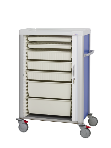 Procedure cart with shutter door with trays on different sizes inside