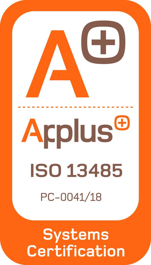 Certificado de calidad con colores naranja y blancos con el sello Applus